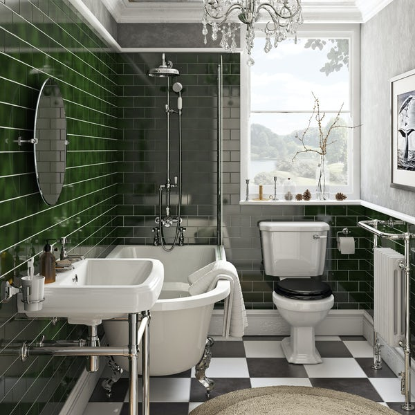 The Bath Co. Dulwich freestanding shower bath suite with black seat
