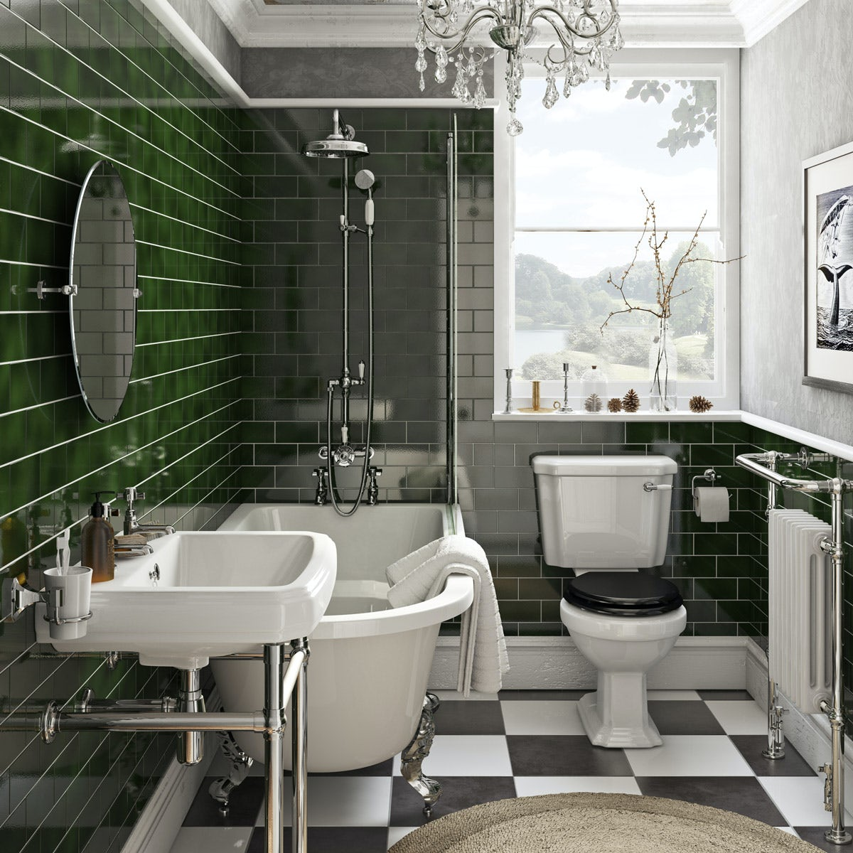 The Bath Co Dulwich Freestanding Shower Bath Suite With Black Seat Victoriaplum Com