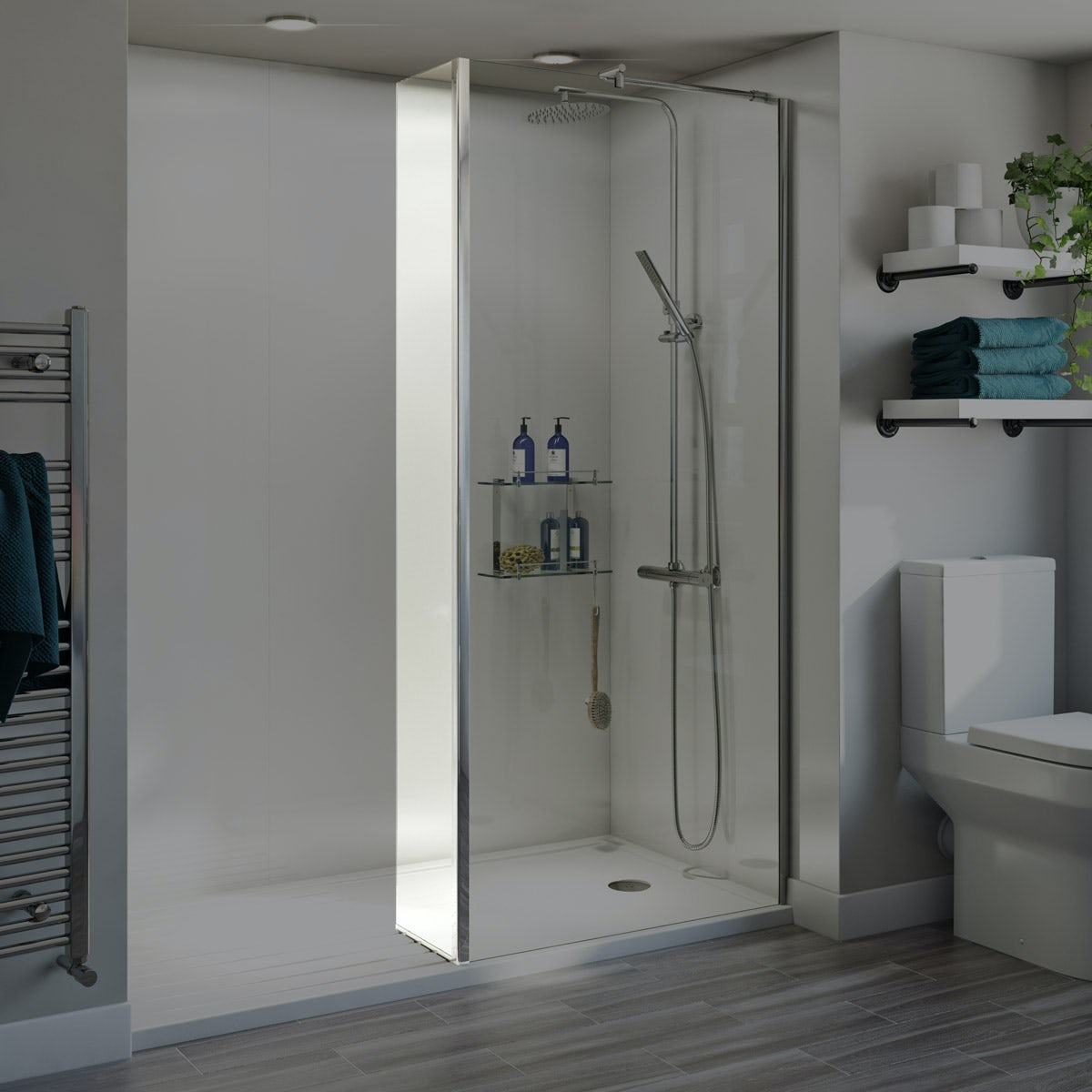 Orchard 6mm wet room fixed return panel 300mm