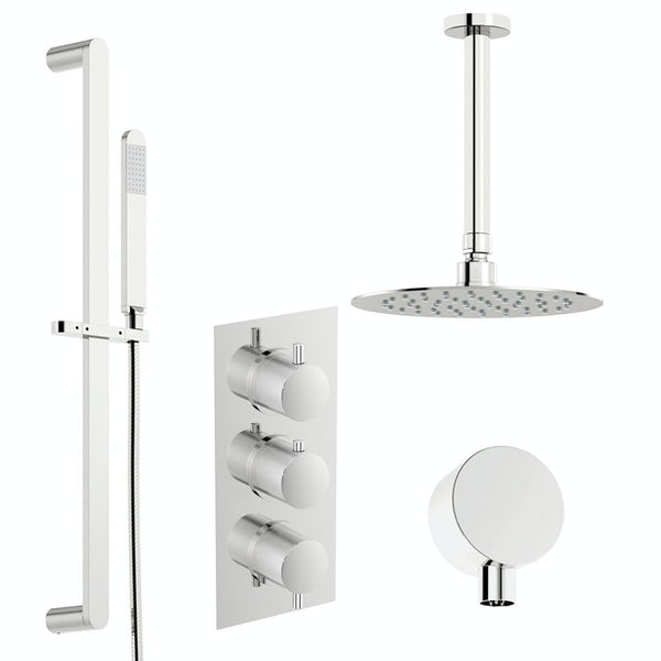 Mode Banks thermostatic shower valve with slider rail and ceiling shower set