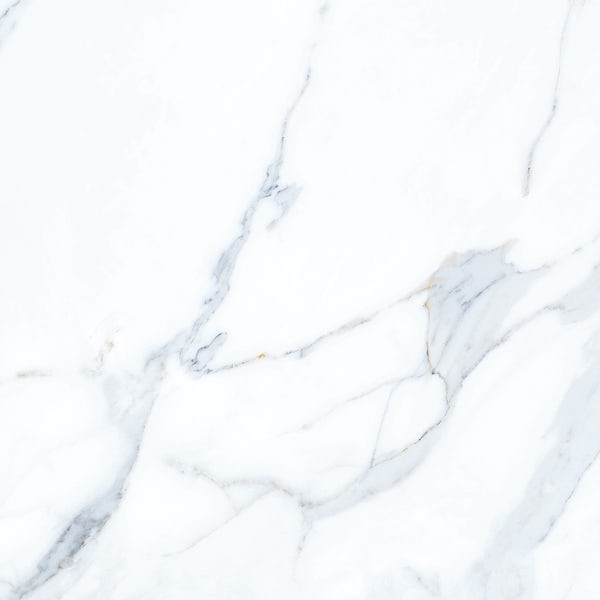 Storm white marble effect gloss wall and floor tile 800mm x 800mm