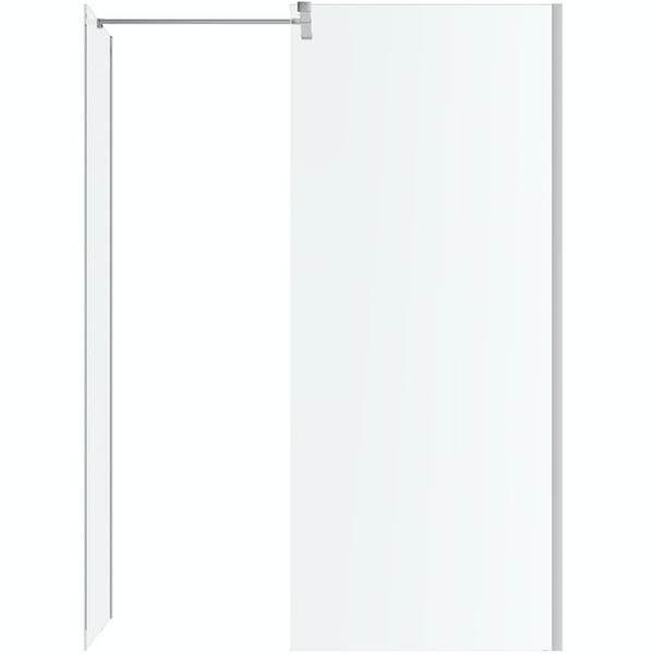 Mode Burton 8mm walk in shower enclosure pack with black stone tray