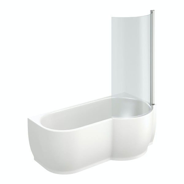 Maine Luxury Right Handed P Shaped Shower Bath With 6mm Shower