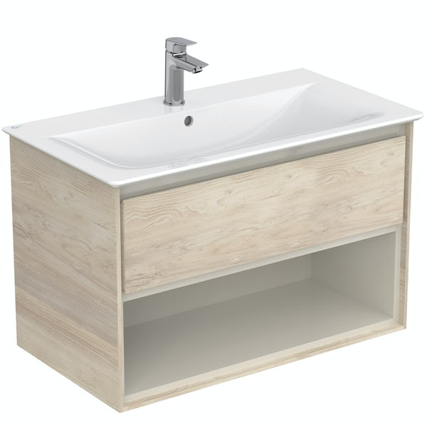 Ideal Standard Concept Air wood light brown open wall hung vanity unit and basin 800mm