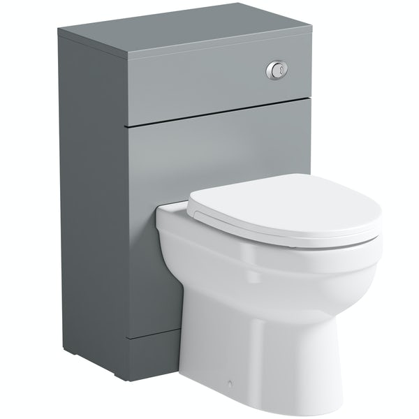 Orchard Elsdon stone grey slimline back to wall unit with Eden toilet & soft close seat