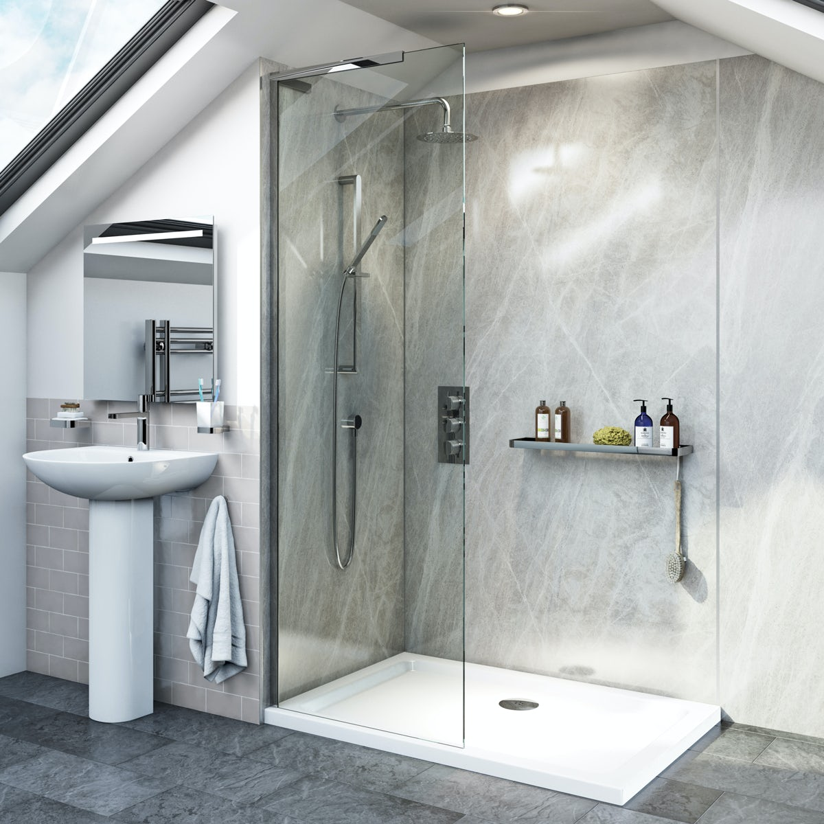 Mode 8mm walk in glass panel pack with stone shower tray