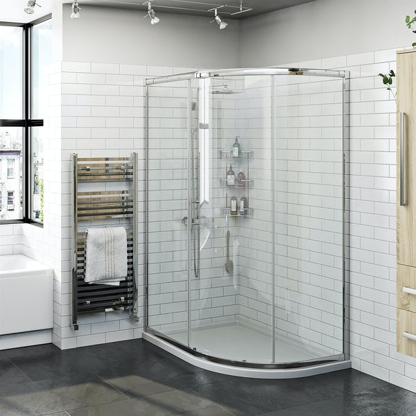 Orchard 6mm One Door Offset Quadrant Shower Enclosure 900