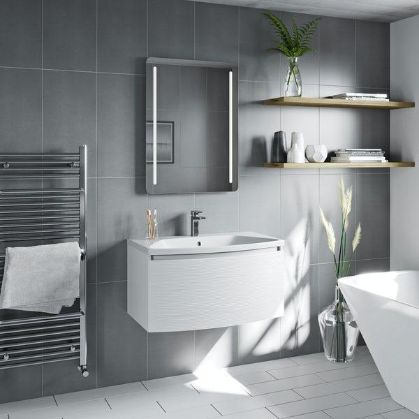 Mode Foster textured matte white wall hung vanity unit and basin 810mm