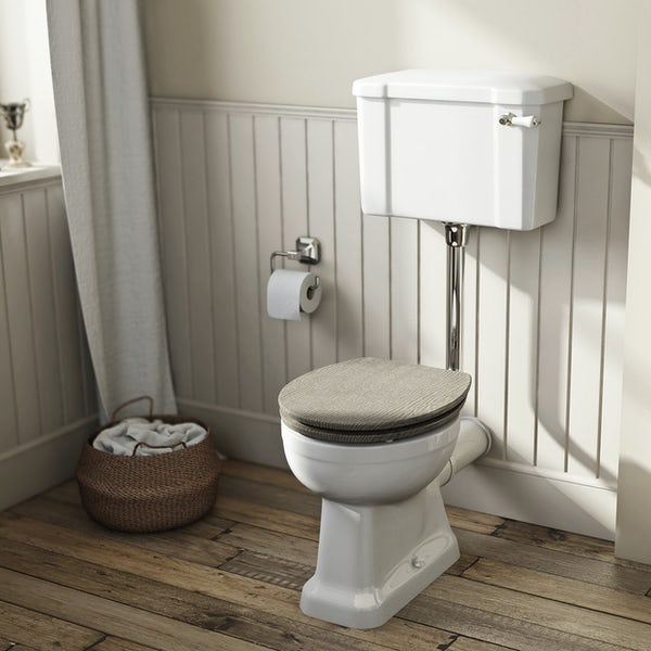 The Bath Co. Camberley low level toilet with wooden soft close seat limed oak effect