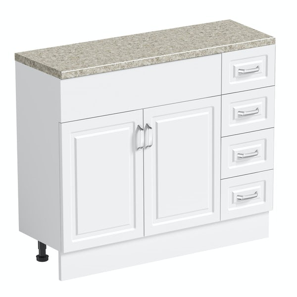 Orchard Florence white 650mm, multi drawer unit & plinth with beige top