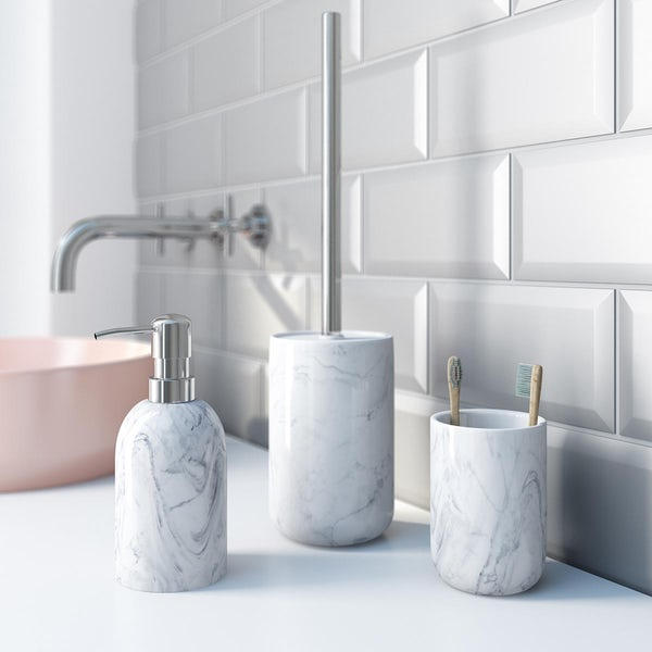 Accents marble effect 3 piece bathroom setAccents Waikiki marble effect ceramic 3 piece bathroom set