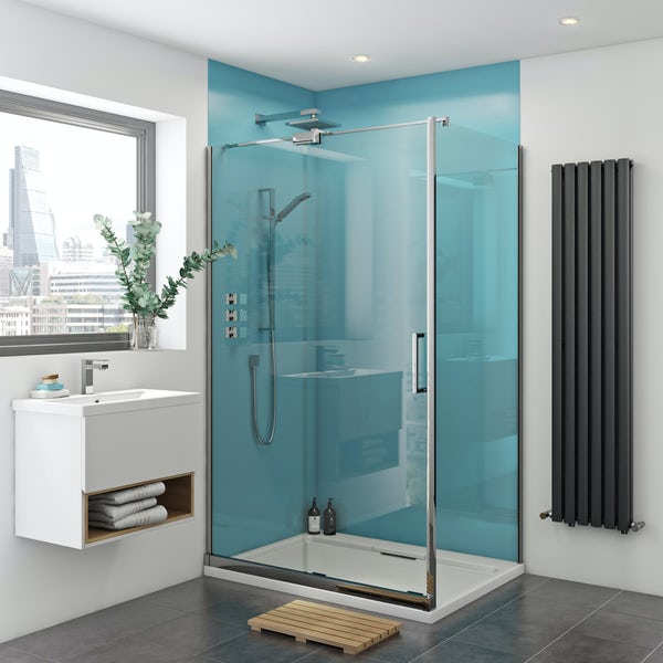 Zenolite plus water acrylic shower wall panel corner installation pack 1220 x 1220