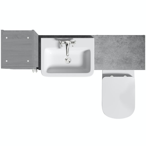 The Bath Co. Newbury dusk grey tall fitted furniture combination with pebble grey worktop