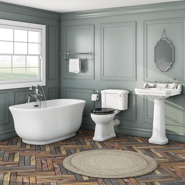 The Bath Co. Camberley freestanding bath suite with black seat