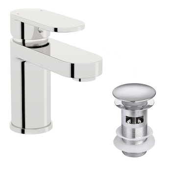 Kirke Curve WRAS basin mixer tap with click clack waste and cold start