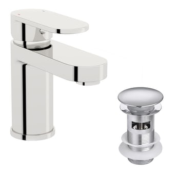Kirke WRAS Curve basin mixer tap with click clack waste and cold start