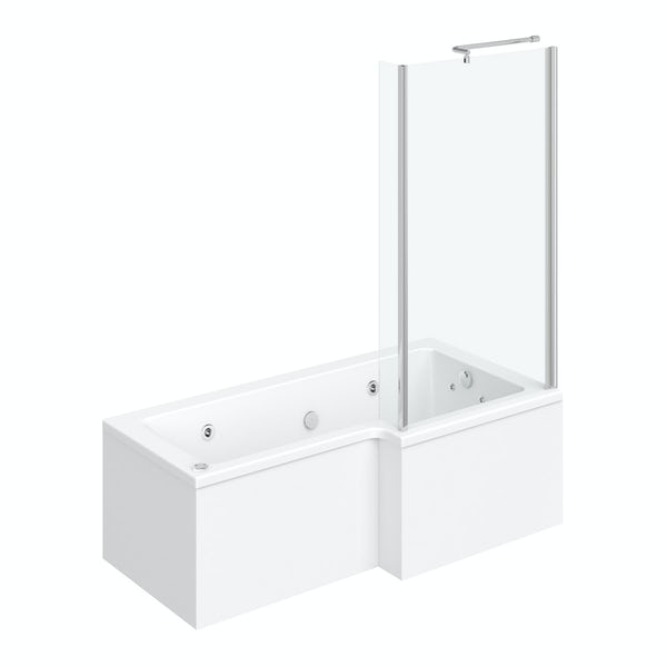 L shaped right handed 12 jet whirlpool shower bath with front panel and screen