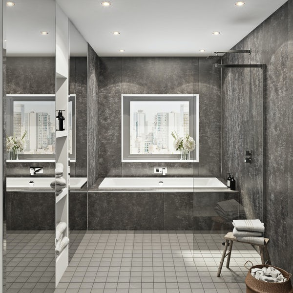 Multipanel Linda Barker Graphite Elements unlipped shower wall panel 2400 x 1200