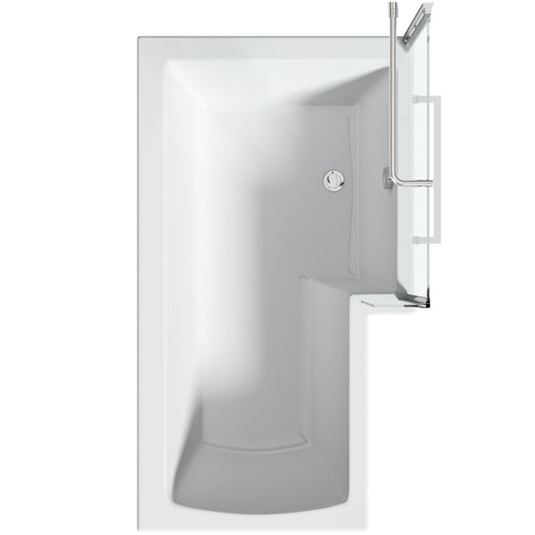 Orchard L shaped right handed shower bath with 6mm shower screen and rail