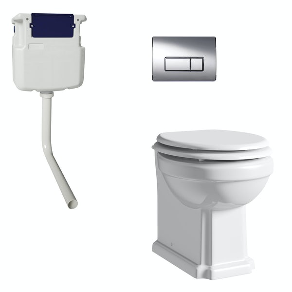 The Bath Co. Dulwich back to wall toilet with white soft close seat, concealed cistern and push plate