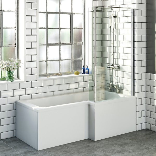 Orchard L shaped right handed shower bath with screen and bath mixer tap pack