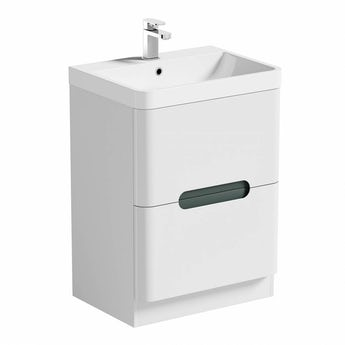Mode Ellis slate floorstanding vanity drawer unit and basin 600mm