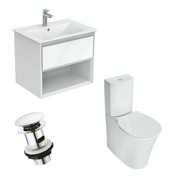 Ideal Standard Concept Air gloss and matt white open vanity unit with close coupled toilet with free waste