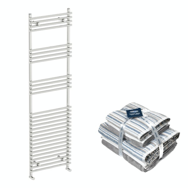 Orchard Derwent chrome heated towel rail 1650x450 with Silentnight Zero twist grey 4 piece towel bale
