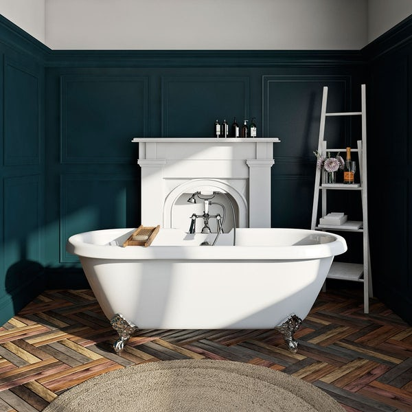 The Bath Co. Dulwich complete bathroom suite with roll top bath, taps and oak effect seat
