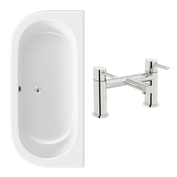 Orchard Elsdon D shaped double ended bath 1700 x 800 with free tap