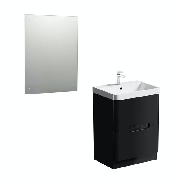 Planet Black 600 vanity unit with mirror offer