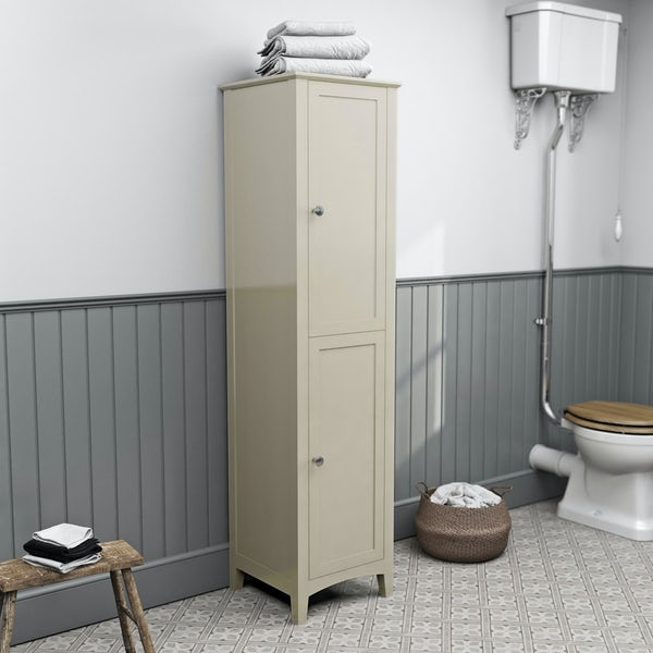 The Bath Co. Camberley satin ivory tall storage unit