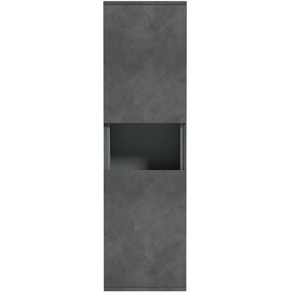 Mode Tate II riven grey wall hung cabinet 1400 x 400mm
