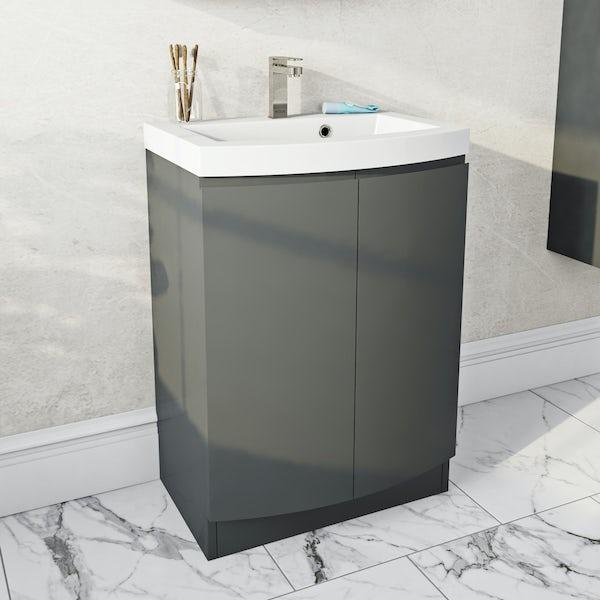 Mode Harrison slate gloss grey floorstanding vanity door unit and basin 600mm