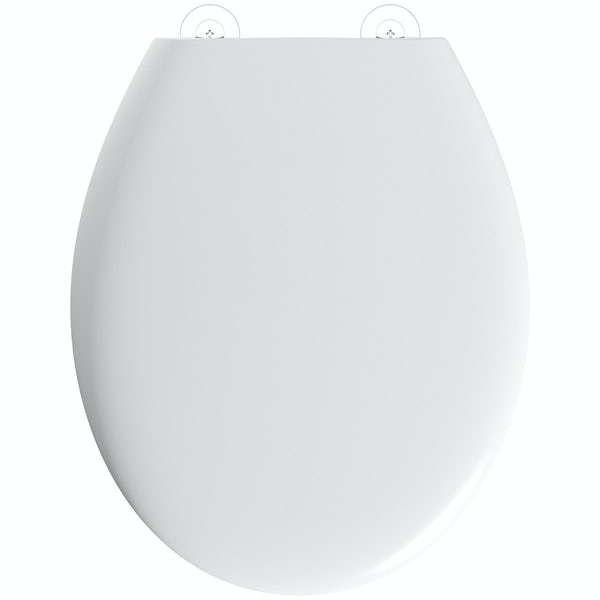 Clarity universal thermoplast top fix toilet seat with stainless steel hinge