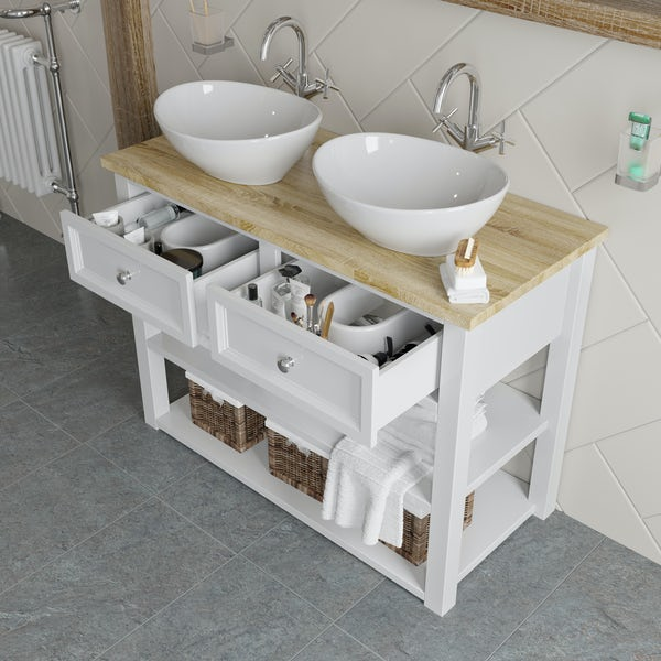 The Bath Co. Marlow 1040mm double washstand with countertop basins