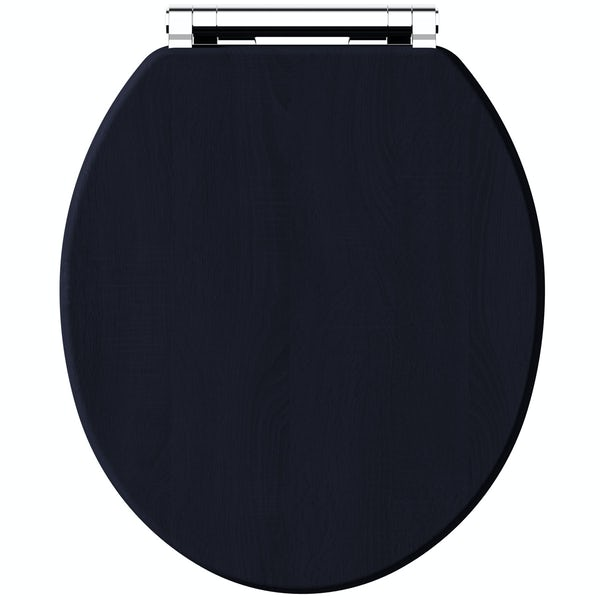 The Bath Co. Beaumont sapphire blue wooden toilet seat