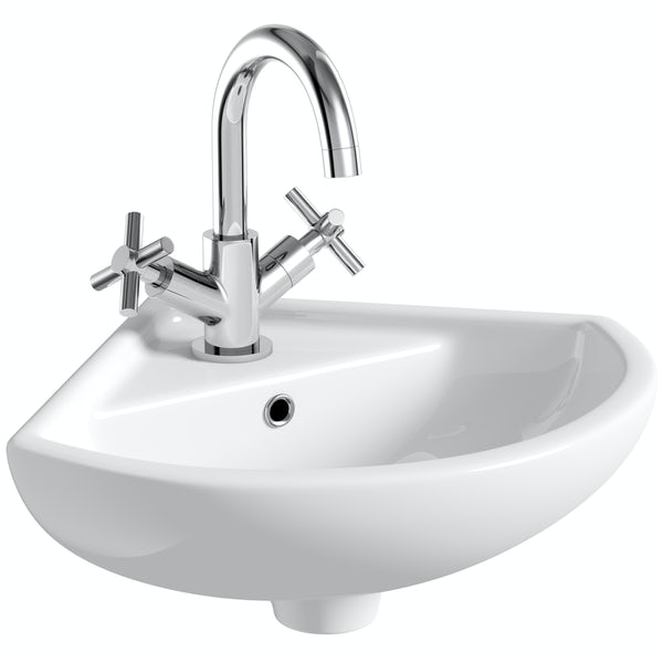 Orchard Eden wall hung corrner basin 370mm with waste