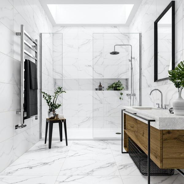 Mont Blanc white marble effect matt wall and floor tile 300mm x 600mm
