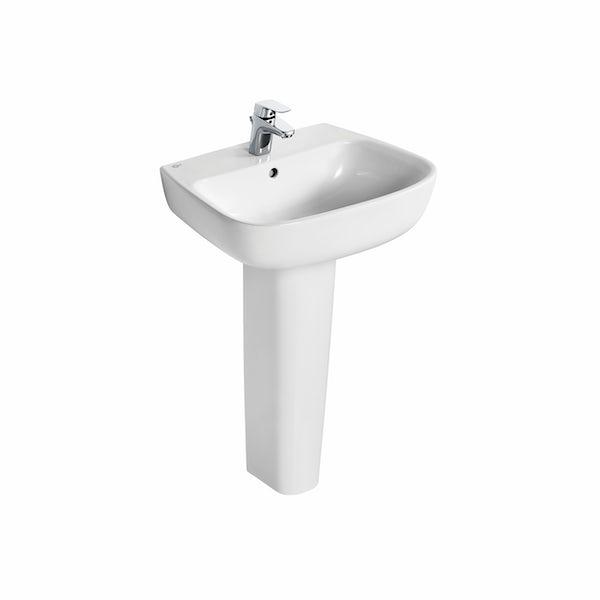 Ideal Standard Studio Echo straight bath suite with full pedestal basin 1700 x 700