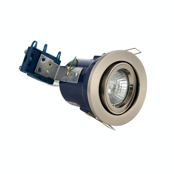 Forum adjustable fire rated bathroom downlight in satin chrome