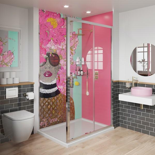 Louise Dear Kiss Kiss Bam Bam Hot Pink shower wall panel pack