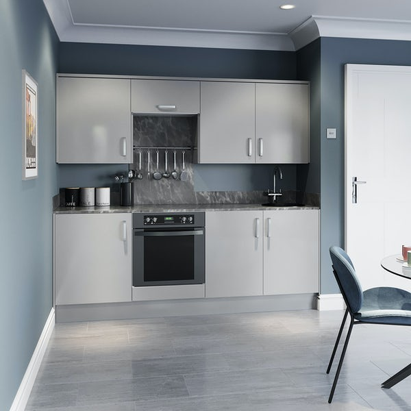 Schon Boston light grey slab kitchen base and wall unit bundle