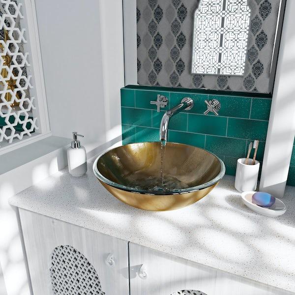Mode Mackintosh gold foil glass countertop basin 420mm