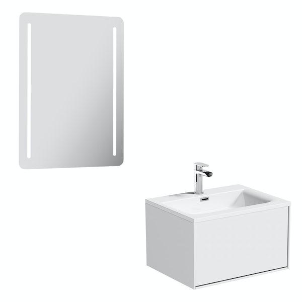 Mode Burton White Wall Hung Vanity Unit, Mode Burton White Wall Hung Vanity Unit And Basin 600mm