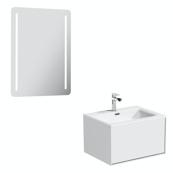 Mode Burton white wall hung vanity unit 600mm & LED mirror offer