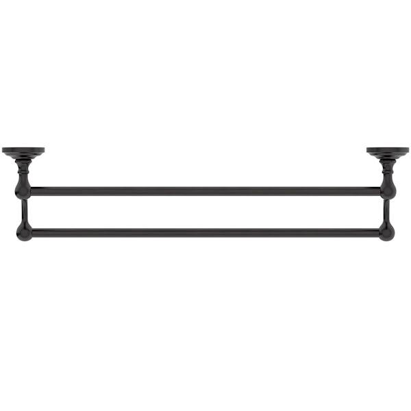 The Bath Co. 1805 black double towel rail
