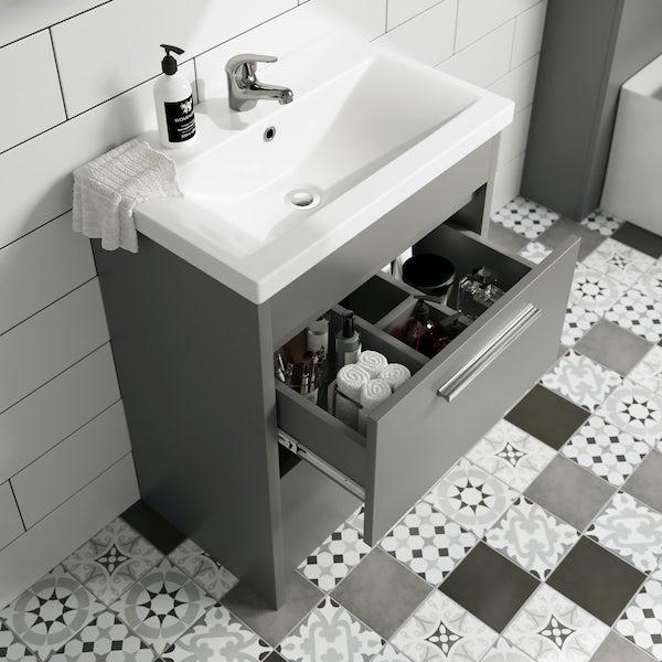 Clarity satin grey vanity unit and basin 600mm