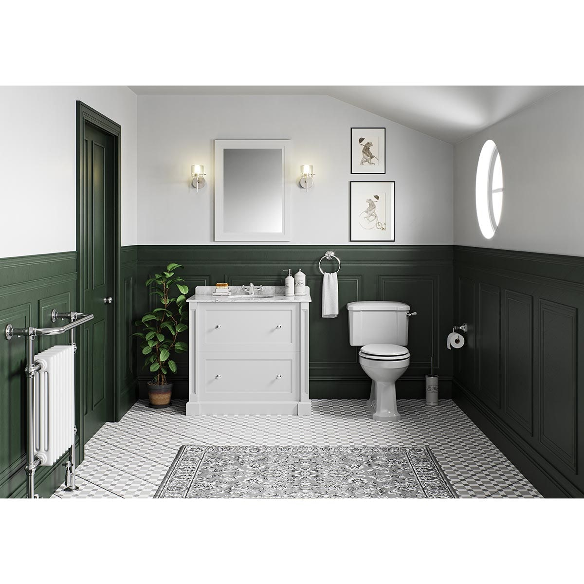 The Bath Co. Camberley toilet and Burghley vanity unit white