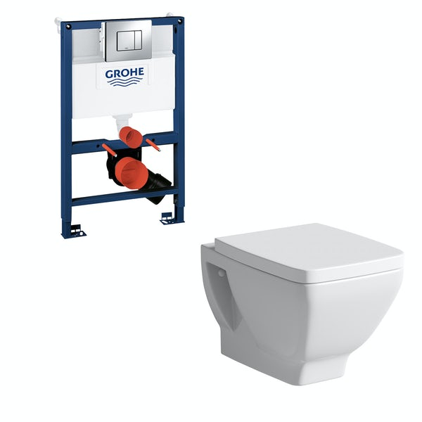 Mode Cooper wall hung toilet, Grohe frame and Skate Cosmopolitan push plate 0.82m